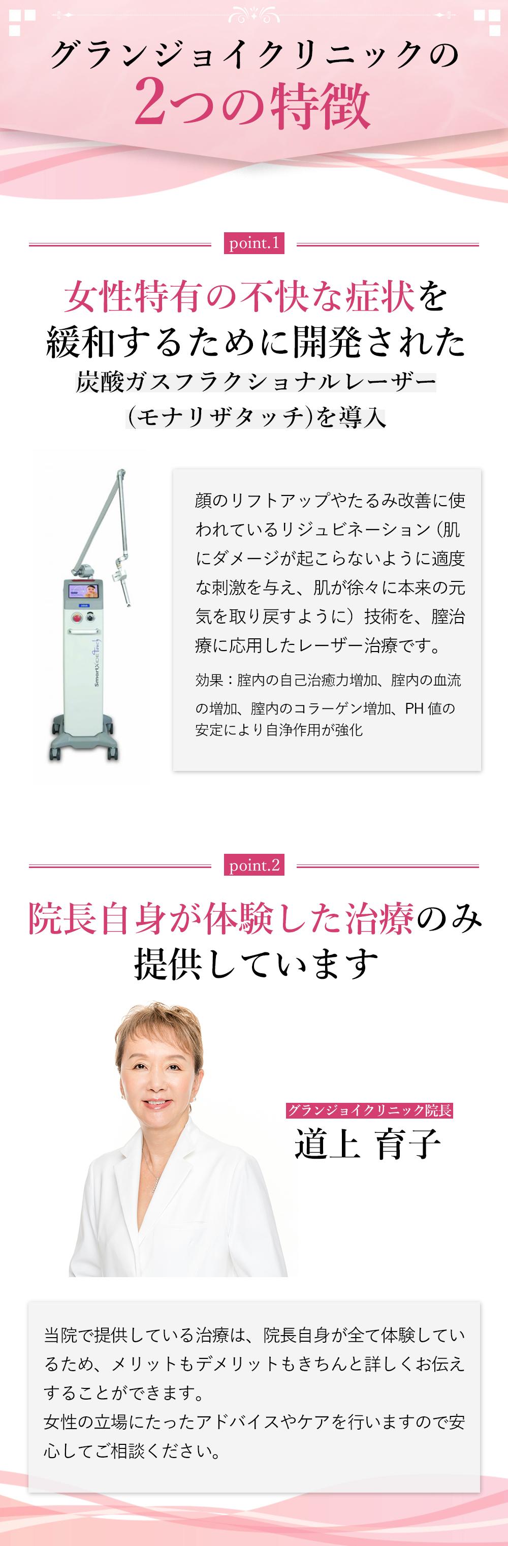 グランジョイクリニック 女性特有な不快な症状を緩和 炭酸ガスフラクショナルレーザーを導入